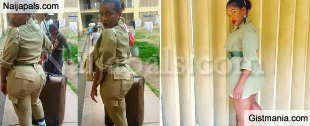 WOW! Sexy Photos Of Corper Serving In Lagos Flaunting Her Big Behind Gots Guys Talking
