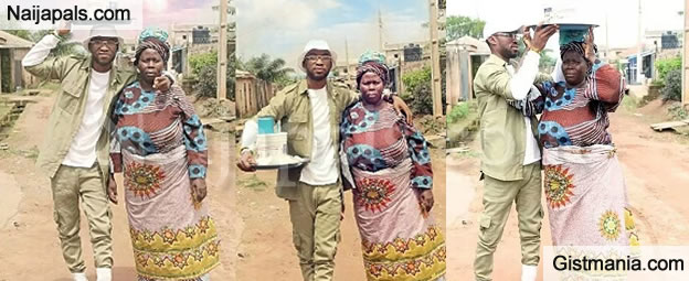 Young Corp Member, Oladipupo Shows Off Mum Who Sold Pap To Educate Him (Photos)