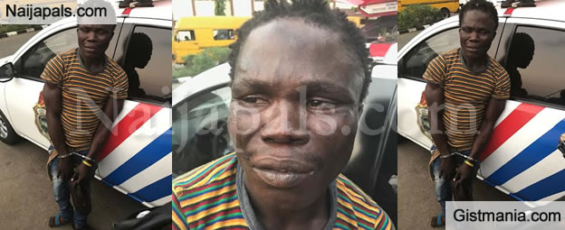 Notorious Crippled Man Who Attack Motorists With Broken Down Vehicles In Lagos Arrested (Photos)