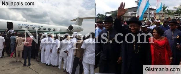 #HappyEnding: Check Out The Crowd That Welcomed Former President Jonathan And Wife In Portharcourt