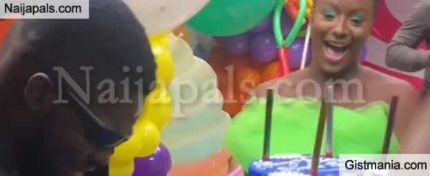 Otedola's Daughter, Dj Cuppy Suprises Broda Shaggi With A Birthday Cake