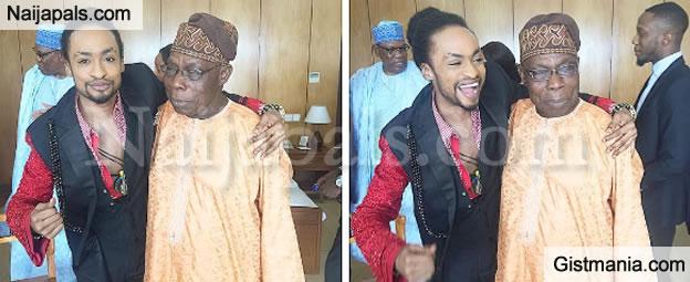 Denrele Shares Playful Photos With Ex-president Obasanjo