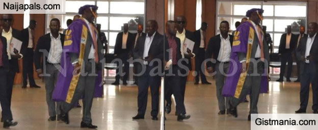 Senator Dino Melaye Spotted Wearing Convocation Gown To Senate Plenary (PHOTOS)