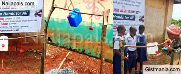 See Tippy Tap Constructed By Enugu First Lady For Primary Schools To Aid Hand Washing (Photo)