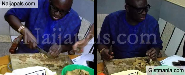 "Checkout Photos Of Fayose Doing His ""Office Job"" Of Meat Cutting"
