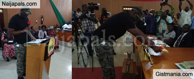 Fayose Wears Military Outfit For Budget Presentation At Ekiti House Of Assembly (PHOTOS)