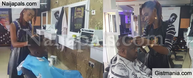 Inspiring Photos Of Lady, Adeola A Female Barber Spotted Around Maryland In Lagos