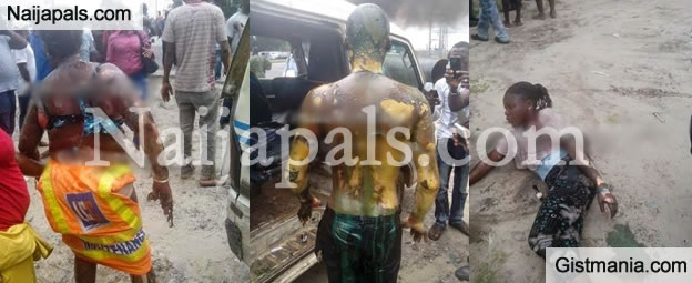 Graphic Photos: Passengers Badly Burnt In Commercial Bus When Fuel Stored In The Bus Explodes