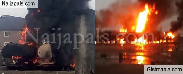 Fire Outbreak Razes Over 50 Petrol Tankers In Delta - Photos