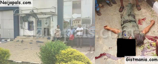 NOT AGAIN! Police Officer Killed As Armed Robbers Storm First Bank In Ekiti (Photos)