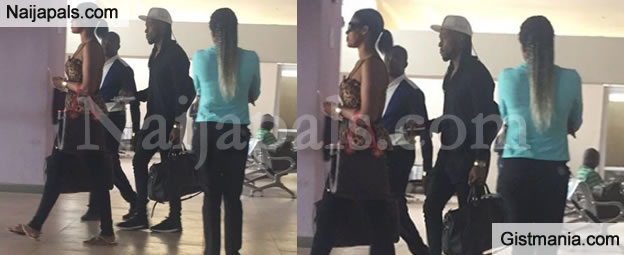 Photos: Flavour Nabania And Baby Mama Sandra Okagbue Spotted At Enugu Airport