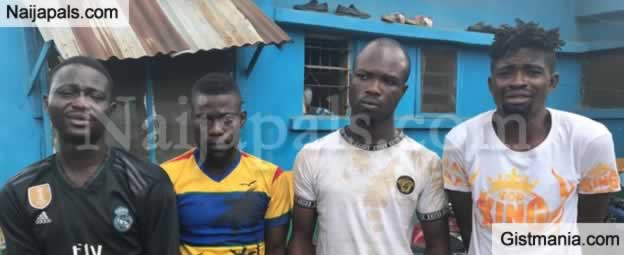 See The Four Notorious Armed Robbers Arrested By The Police In Igando Area Of Lagos.