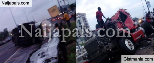 Bad Roads: Petrol Tanker Tumbles On Commercial Bus In Oshogbo