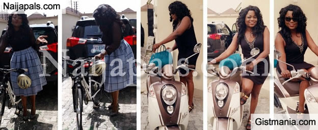 STILL On THIS FUEL SCARCITY: Funke Akindele Rode A Bicycle To Church Today Bcos Of Fuel Scarcity