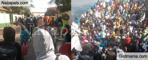 Man Shares Photos Of Gambians Fleeing The Country Because Of Jameh's Refusal To Step Down