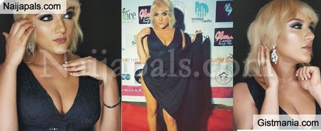 #BBNaija Ex Housemate Gifty Powers Serves Some Sexiness In Thigh High Slit Dress (Photos)