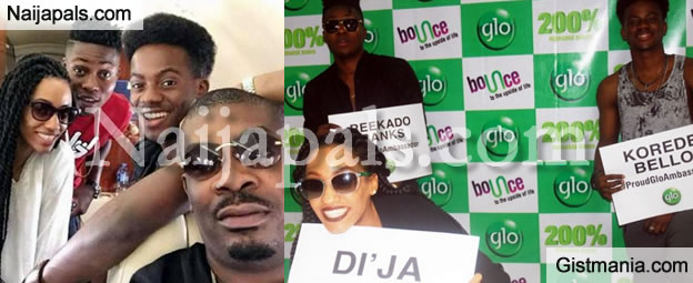 Don Jazzy Revels As Globacom Signs Reekado Banks, D'ija and Korede Bello As Glo Ambassadors