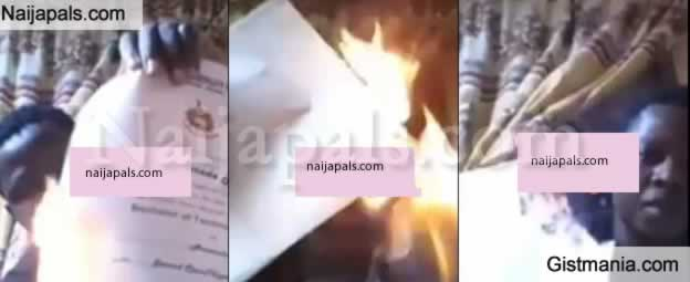 Frustrated Graduate Sets Certificates On Fire After He Was Unable To Secure Employment After 5yrs