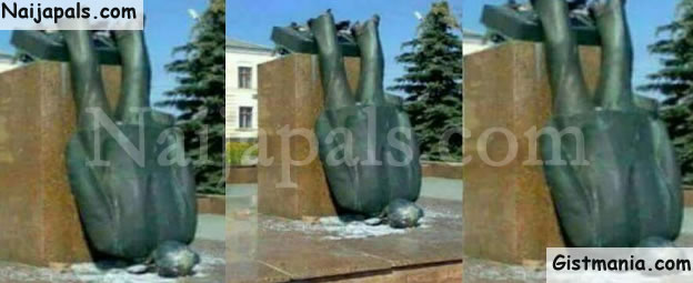 JUST IN! Angry Owerri Youths Brings Down Newly Erected N530M Jacob Zuma's Statue In Owerri (Photos)