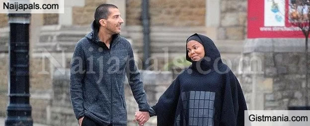 CUTE COUPLE! Pregnant Janet Jackson Lovely In Hijabb As She Takes A Stroll With Husband