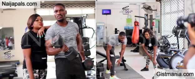Nollywood Actress, Funke Akindele And Ex BBNaija Housemate, Tobi Bakre Spotted At The Gym
