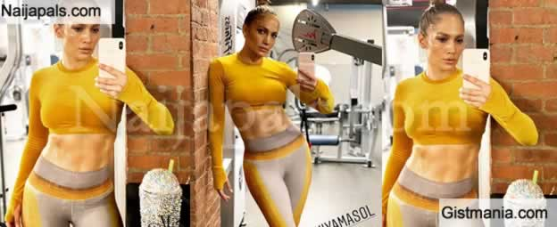 Photos: 50-Yrs-Old Jennifer Lopez Shows Off Her Amazing Abs During Sweaty Workout