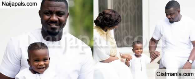 Photos Of John Dumelo's Son and Wife In Matching White Outfit