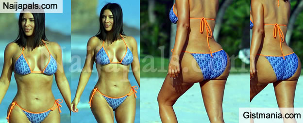 Wow! Kim Kardashian Keeps Pumping Our More Photos Of her Behind To Prove Haters Wrong