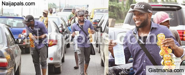 Music Star Kcee Hawks MTN Recharge Cards On The Streets - Photos