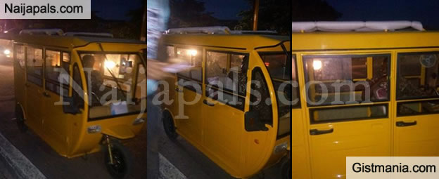 LOOKS COOL! 'Limousine' Tricycle (Keke Napep) Spotted In Festac, Lagos Photos