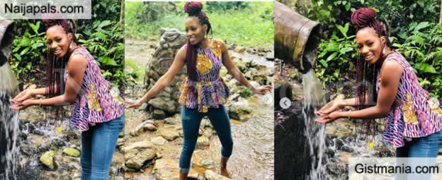 Ex BBNaija Housemate, Khafi Shares All Smile Photos As She Visits Ikogosi Warm Spring In Ekiti