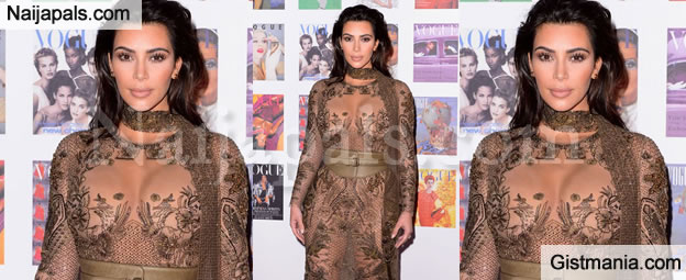 Kim K At It Again As She Bares It All Open In This Super Sexy See Through Gown (Photos)