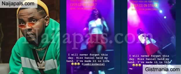 """""""I Have Made It In Life"""" - Lady Full Of Excitement After Being Held By Kizz Daniels On Stage"""