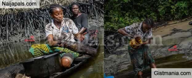 Miss Helma Peredesabofa Akinyomi Releases Photoshot From Oil Polluted Niger Delta Creeks.