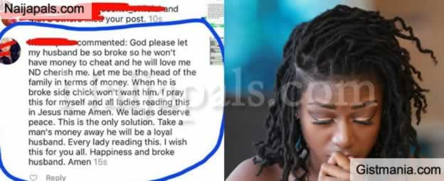 """""""God Let My Husband Be So Broke So He Won't Have Money To Cheat"""" – Nigerian Lady Prays On Instagram"""