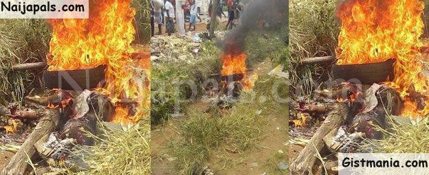Man Burnt To Death In Benue For Stealing Motorcycle In Benue (Photos)