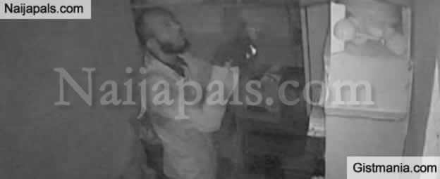 Man Caught On CCTV While Burgling A Pharmacy Store In Oyo (Photos)