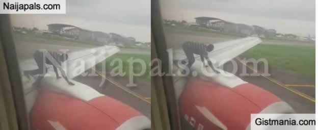 Passengers Panic As Man Climbs Azman Air Aircraft At Lagos Airport