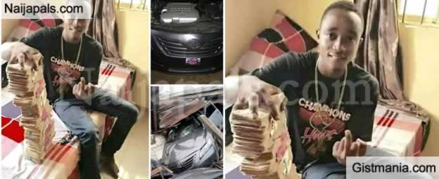 Delta Man Who Flaunts Cash Before Buying New Car, Crashes It In A Building 2 Days After (Photos)