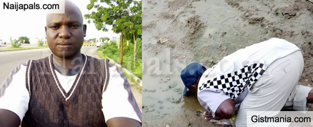 Hausa Man Drinks Dirty Water From The Ground to Fulfill Vow Over President Buhari's Return (Photos)