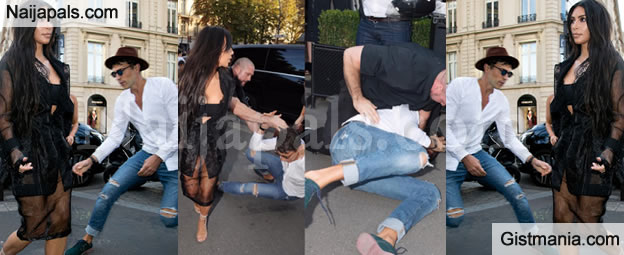 See What Happened To Man Who Tried To Kiss Kim Kardashian's Butt In Paris (Photos/Video)