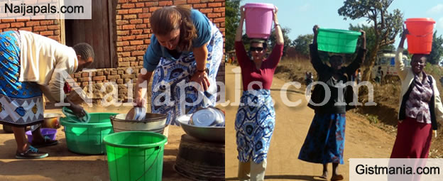 Photos Of 85 Billion Dollars Melinda Gates Carrying Water On Her Head and Washing Plates In Malawi