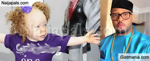 Rare Photos Of Actor, Mike Ezuruonye's Albino Daughter, Elsa As She Clocks One