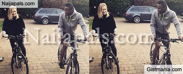 PHOTO: Mikel Obi And Girlfriend Go For A Ride On Bicycle