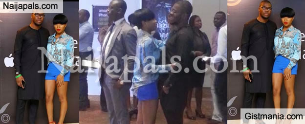 Mocheddah Sticks To Her Billionaire's Son Boyfriend At Recent Lagos Party