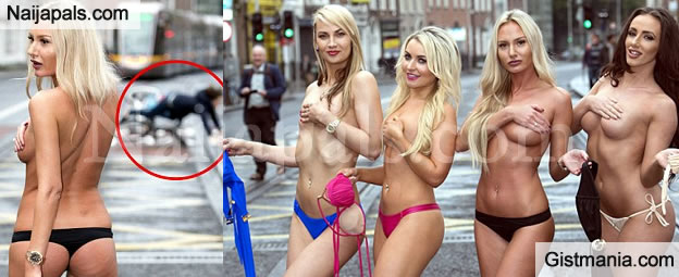 Models Take Off Bra To Show Support For Bosom Cancer Awareness Day - Photos