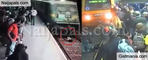SHOCKING VIDEO: How Woman Escaped Being Crushed to Death By A Moving Train