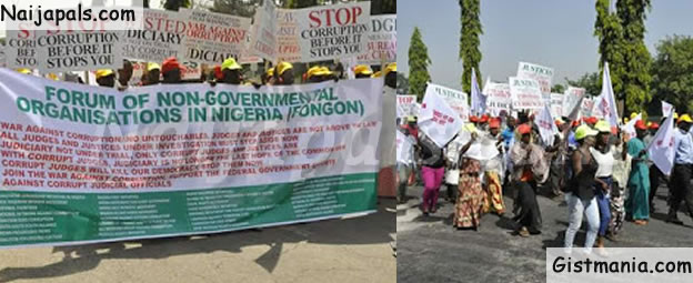 Over 50 NGOs Came Together to Protest in Abuja Against  Corrupt Judges (PHOTOS)