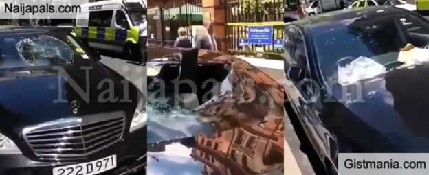 Angry Man Destroys Nigerian Consulate Official Cars For Refusing Him a Passport In London