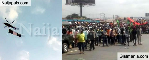 WHAT BIAFRA?! Helicopters Fly Nigerian Flag Over Onitsha As MASSOB Protest For BIAFRA -Pix